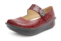 Alegria Paloma Wine Embossed Rose womens comfort mary jane shoes