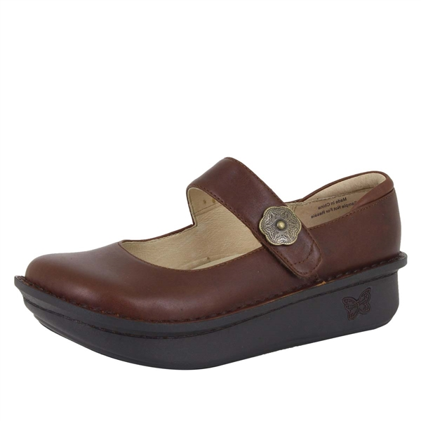 Alegria Paloma Hazelnut brown comfort mary jane shoes for women with slip resistant bottoms