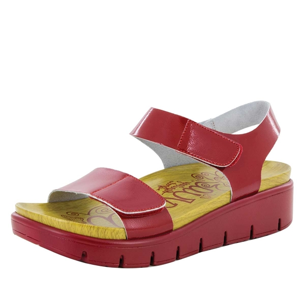 Alegria Playa Duo Red Patent comfort sandals for women