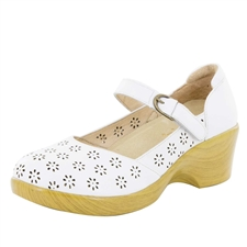 Alegria Rene White Butter stain resistant comfort shoes for women