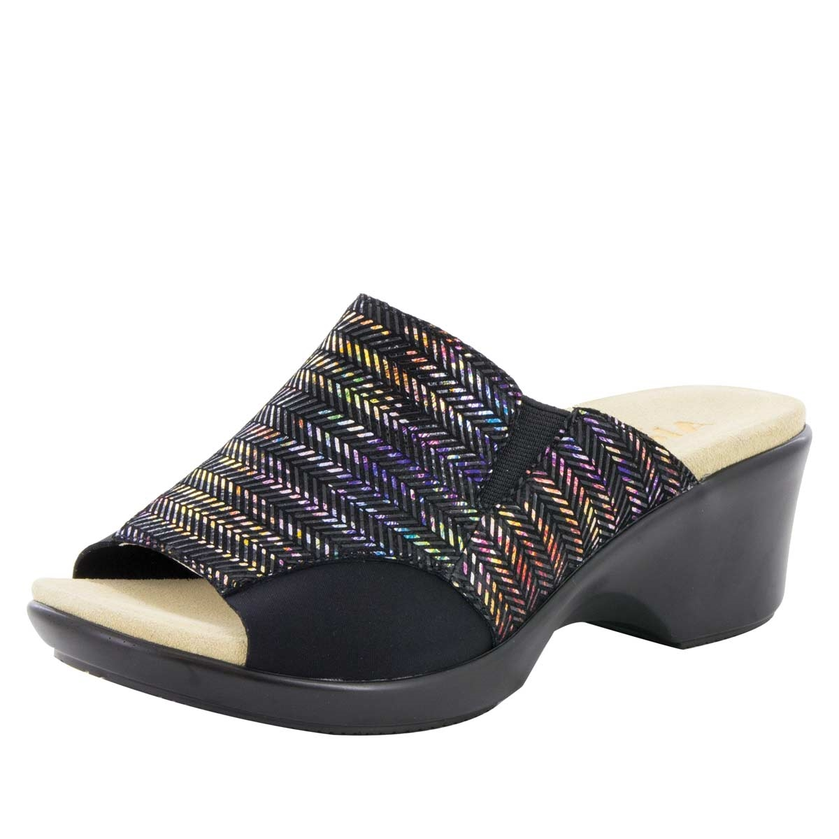 best place cheap price sneakernews Alegria Leather Slide Wedge Sandals - Ryli wiki cheap price yALMh8