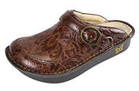 Alegria Seville Yeehaw Brown womens leather open back comfort clog