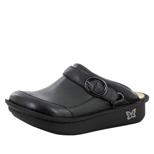Alegria Seville Black Napa Leather womens slip resistant nursing clog