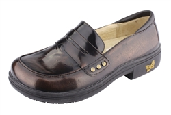 Alegria Taylor Brush Off Brown womens leather dress loafer