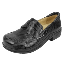 Alegria Taylor Pro Black Glossy Snake comfort loafer for women