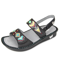 Alegria Verona Black Embroidery womens leather comfort sandal