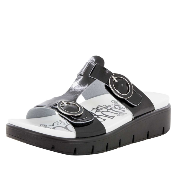 Alegria Vita Black Patent comfort sandals for women