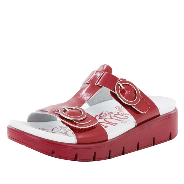 Alegria Vita Duo Red Patent comfort sandals for women